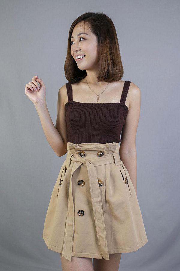 BELLY BUTTON SASH TIE SKIRT (KHAKI)