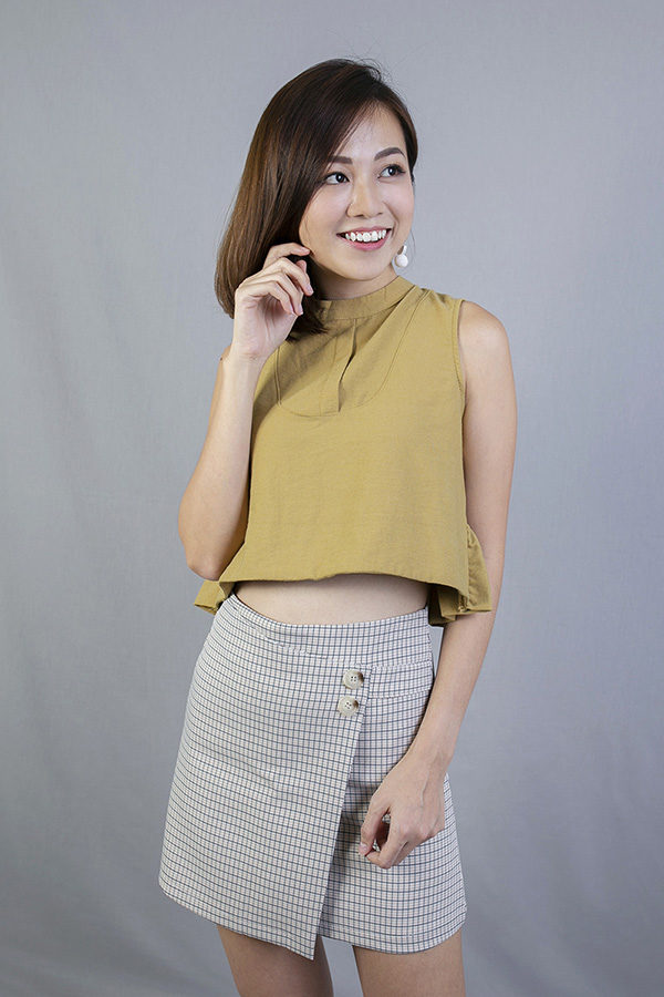 ELENE MOCK NECK CROP TOP (MUSTARD)