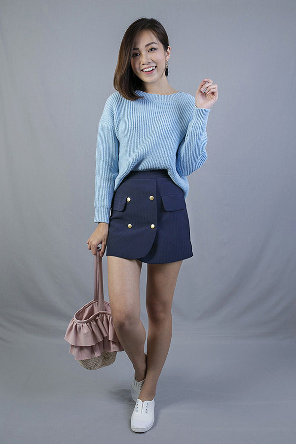 COLLEGE A-LINE BUTTON SKIRT (NAVY BLUE)