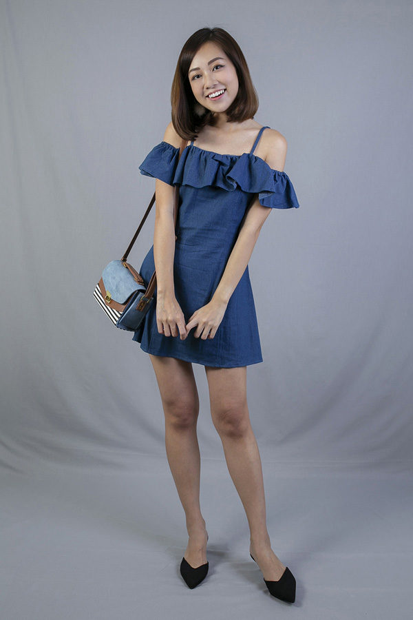 RANLEY RUFFLED DENIM DRESS (DARK BLUE)
