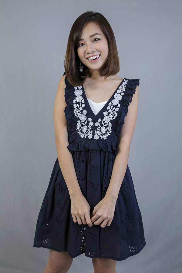 DAELYN EMBROIDERY EYELET DRESS (NAVY BLUE)