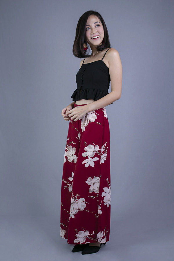 JANNY FLORAL WIDE LEG TROUSER (RED)