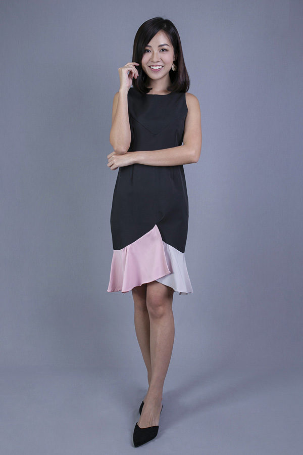 MELIZZ SLEEVELESS HEM DRESS (BLACK)