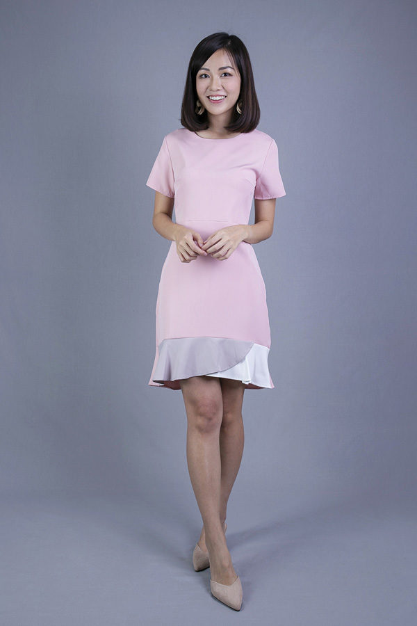 MELIZZ SHORT SLEEVE HEM DRESS (PINK)