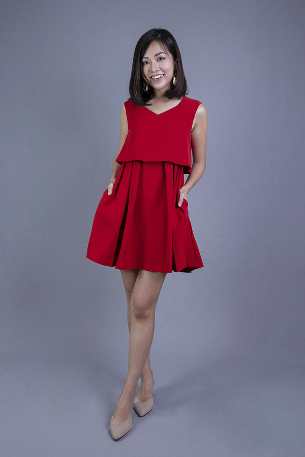 OLINII BABYDOLL DRESS (RED)
