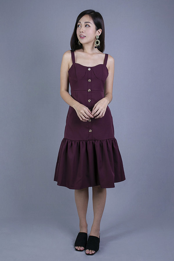 HEIDI MIDI DRESS (MAROON)