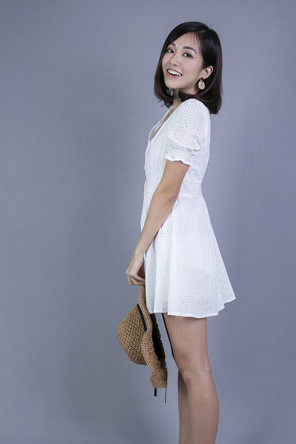 JARRYNA EYELET DRESS (WHITE)