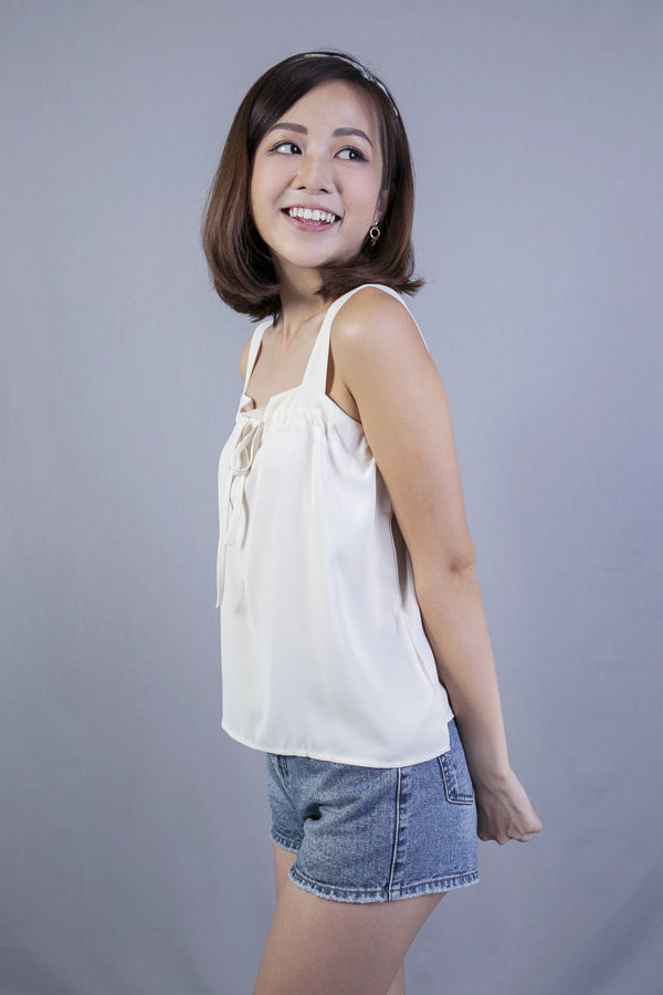 AVIANA FRONT TIE TOP (CREAM)
